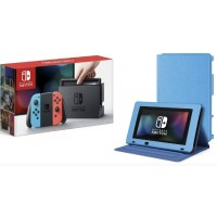 Nintendo Switch Neon Red/Blue (HAC-001) +Leather Case +Screen Guard
