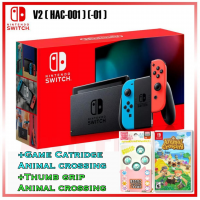New V2 Nintendo Switch Neon Red/Blue (HAC-001)(-01) +Game Animal Crossing & Thumb Grip