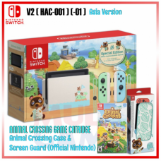 (Free Ongkir) Nintendo Switch V2 Animal Crossing Limited +Game Catridge +Case Official