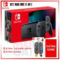 New V2 Nintendo Switch Grey (HAC-001)(-01) +Game +Thumb Grip Zelda