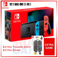 New V2 Nintendo Switch Neon Red/Blue (HAC-001)(-01) +Game +Thumb Grip Zelda