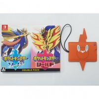 Pokemon Double Pack Sword & Shield +DLC (Japan Cover English Language) +Leather Tag
