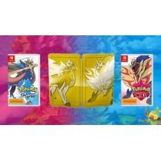—PO/DP— Pokemon Sword + Shield + Gold Dual Game Cards SteelCase (Nov 15, 2019)