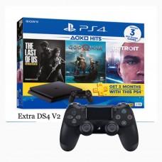 PS4 Slim 1TB (CUH-2218B) Hits Bundle (3 Games + PSN) + Extra DS4 Black