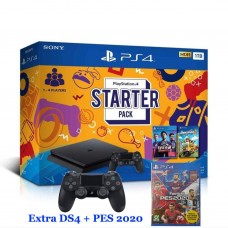 PS4 Slim 1TB Starter Pack (Fifa19 & Overcooked 2) + Extra DS4 Black + BD PES 2020 R3