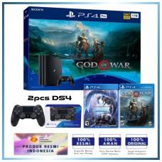 (Imlek) PS4 PRO 1TB God of War Bundle +Extra DS4 & Game Monster Hunter IceBorn Master Edition (R3)
