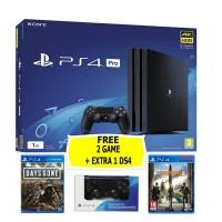PS4 PRO 1TB (CUH-7106B) Jet Black (Asia Version) + Extra DS4 Black & 2 Game
