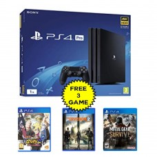 PS4 PRO 1TB (CUH-7106B) Jet Black (Asia Version) + Extra 3 Blue_Ray Disc Game