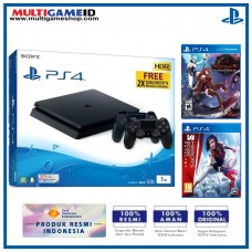 PS4 Slim 1TB Jet Black (2 DS4) + 2 Games (Deception IV & Mirror Ages)