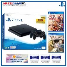 (11.11) PS4 Slim 1TB Jet Black (2 DS4) + 2 Game (God Wars & Arslan)