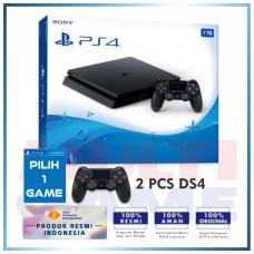 (Official) PS4 Slim 1TB Jet Black (2 DS4) +Game