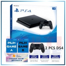 (Official) PS4 Slim 1TB Jet Black (2 DS4) + 2 Game