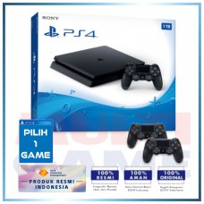 (Official) PS4 Slim 1TB Jet Black (2 DS4) +Game