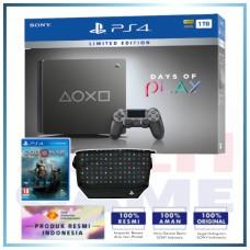 (Imlek) PS4 Slim 1TB Steel Black Days Of Play Limited Edition +PS4 GOW (R3) & Massengger Bag