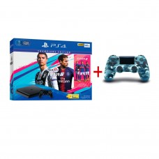 PS4 Slim 500GB (CUH-2106A) Bundle FIFA 19 Champions Edition Game Fisik + PSN 3Bulan Extra DS4 Blue Camo