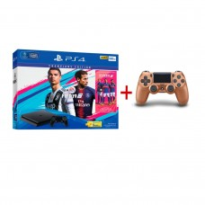 PS4 Slim 500GB (CUH-2106A) Bundle FIFA 19 Champions Edition Game Fisik + PSN 3Bulan Extra DS4 Copper