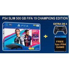 PS4 Slim 500GB (CUH-2106A) Bundle FIFA 19 Champions Edition Game Fisik + PSN 3Bulan Extra DS4 & Game