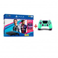 PS4 Slim 500GB (CUH-2106A) Bundle FIFA 19 Champions Edition Game Fisik + PSN 3Bulan Extra DS4 Berry Blue