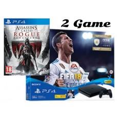 PS4 Slim 500GB (CUH-2106A)  2Game (Fifa 18 & Assssin Creed Rogue Remastered + PSN 3Bulan)