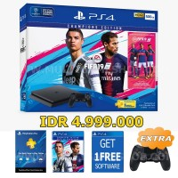 PROMO PS4 Slim 500GB (CUH-2106A) Bundle FIFA 19 Champions Edition Game Fisik + PSN 3Bulan Extra DS4 & Game