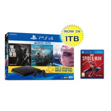 PS4 Slim 1TB (CUH-2218B) NEW HITS 2019 Bundle (3 Games + PSN) + Marvel Spiderman