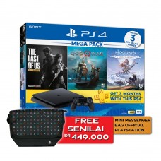 PS4 Slim 1TB Mega Pack (3 Games + PSN 3 Month) + Mini Messenger Bag 25th Anniversary Official Playstation