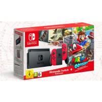 NINTENDO Switch RED/RED + Game Super Mario Odyssey + 2Amiibo