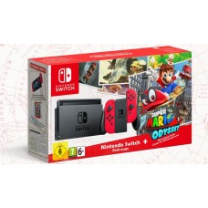NINTENDO Switch RED/RED + Game Super Mario Odyssey + Amiibo Isabella