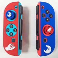 Switch Joycon Silicon Red/Blue Mario Odyssey +Thumb Grip set