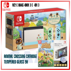 Nintendo Switch V2 (Generation 2) Animal Crossing Limited +Game Catridge +Tempered Glass 9H