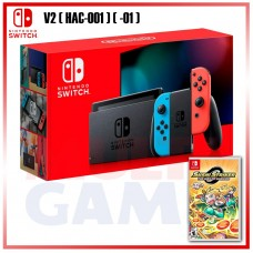 New V2 Nintendo Switch Neon Red/Blue (HAC-001)(-01) +Game Sushi Striker