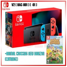 Nintendo Switch V2 (Generation 2) Neon Red/Blue +Game Animal Crossing