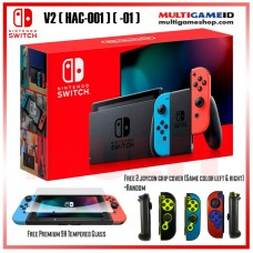 Nintendo Switch V2 (Generation 2) Neon Red/Blue +Tempered Glass 9H +Joycon Cover