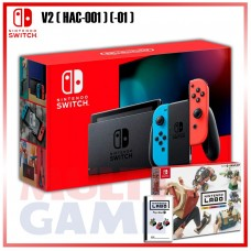 New V2 Nintendo Switch Neon Red/Blue +Labo Vehicle / Drive Kit (Game & Card Board)