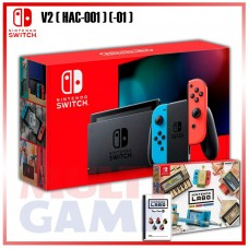 New V2 Nintendo Switch Neon Red/Blue +Labo Variety Kit (Game & Card Board)