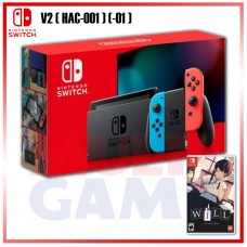 New V2 Nintendo Switch Neon Red/Blue (HAC-001)(-01) +Game Will Wonderful