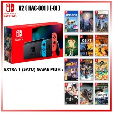 Nintendo Switch V2 (Generation 2) Neon Red/Blue +Game
