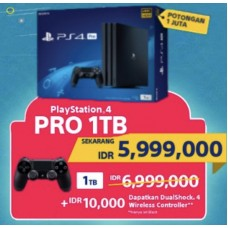 (PROMO 18Mei-02Juni) PS4 PRO 1TB (CUH-7106B) Jet Black (Asia Version) + Extra New DS4 Jet Black