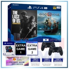 (Official) PS4 PRO 1TB Jet Black OM Bundle 2Game & 2DS4 +Wapen Logo OX +2 Game
