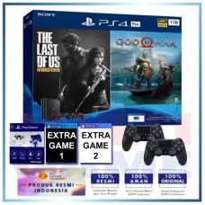 (Official) PS4 PRO 1TB Jet Black OM Bundle 2Game & 2DS4 +Magnetik Putih Biru +Extra 2 Game