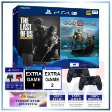 (Official) PS4 PRO 1TB Jet Black OM Bundle 2Game & 2DS4 +Magnetik Hitam Merah +Extra 2 Game