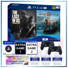 (Official) PS4 PRO 1TB Jet Black OM Bundle 2Game & 2DS4 +Wapen Logo PS +2 Game