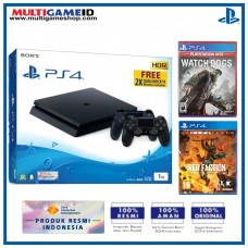 PS4 Slim 1TB Jet Black (2 DS4) + 2 GAMES (Watch Dogs & Red Faction)