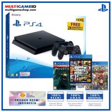 (Official) PS4 Slim 1TB Jet Black (2 DS4) + 3 GAMES (GTA, Injustice2, Aegis)