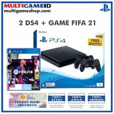 PS4 Slim 1TB Jet Black (2 DS4) +Game Fifa 21 Standard Edition R3
