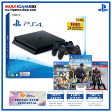 (Official) PS4 Slim 1TB Jet Black (2 DS4) + 3 GAMES (WatchDogs2, Bloodborne, Dead Rising)