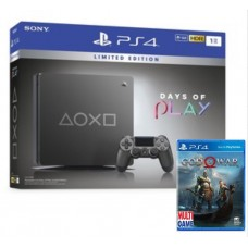 (PROMO SEPTEMBER) PS4 Slim 1TB Steel Black (2118-B BZR) Days Of Play Limited Edition + BD God of War R3
