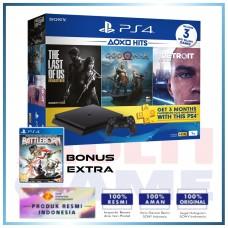 (Imlek) PS4 Slim 1TB Hits Bundle (3 Games + PSN) + Extra Game BattleBorn