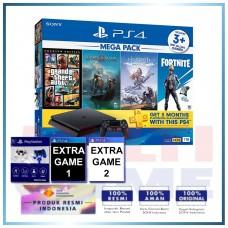 (Official) PS4 Slim 1TB Mega Pack #2 (4 Games + PSN) +Magnetik Putih Biru +2 Games