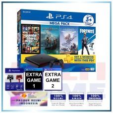 (Official) PS4 Slim 1TB Mega Pack #2 (4 Games + PSN) +Magnetik Hitam Merah +2 Games
